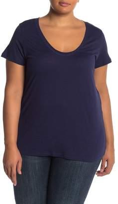 Susina Scoop Neck Slub T-Shirt (Plus Size)