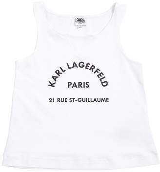 Karl Lagerfeld Logo Print Jersey Tank Top