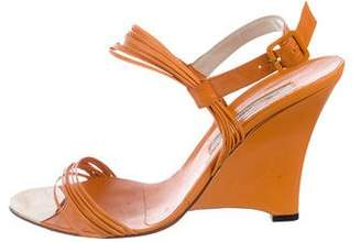 Brian Atwood Leather Multistrap Wedges