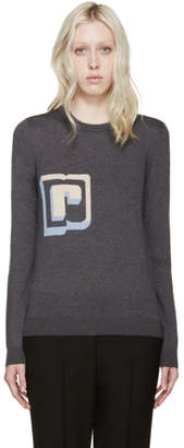 Paco Rabanne Grey Wool Intarsia R Pullover