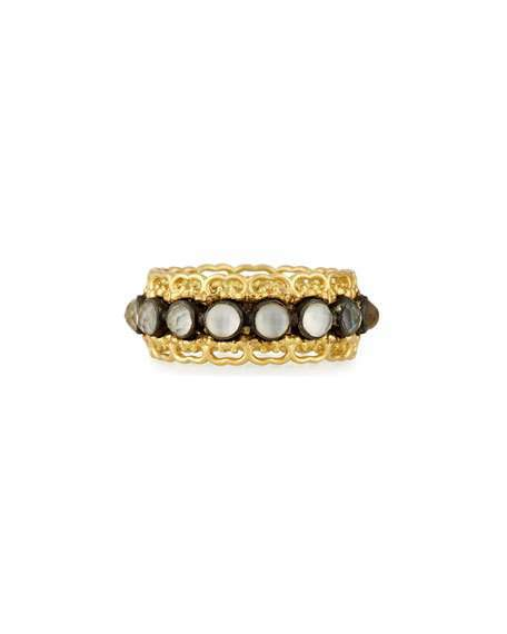 ArmentaArmenta Old World Blackened 18K Band Ring with Faceted Doublets, Size 7