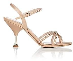 Miu Miu Women's Crystal-Embellished Satin Sandals - Naturale