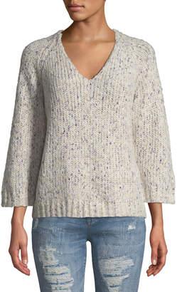 Lilla P 3/4-Raglan-Sleeve V-Neck Sweater