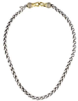 David Yurman Two-Tone Diamond Clasp Wheat Chain Necklace
