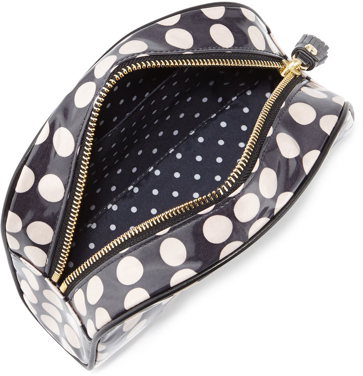 Tory Burch Dot-Print Coated Canvas Cosmetic Case, Black