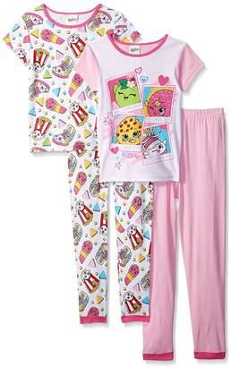 AME Sleepwear Shopkins Little Girls' 4 Piece Cotton Pajamas Set