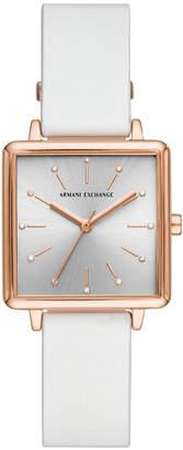 Armani Exchange Women Lola White Leather Strap Watch 30mm