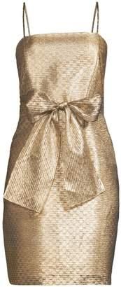 Shoshanna Blanc Bow Waist Lurex Dress