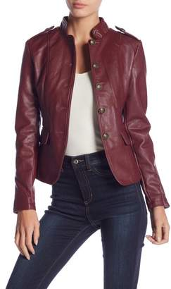 Romeo & Juliet Couture Faux Leather Military Jacket