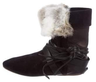 Isabel Marant Suede Fur-Trimmed Booties