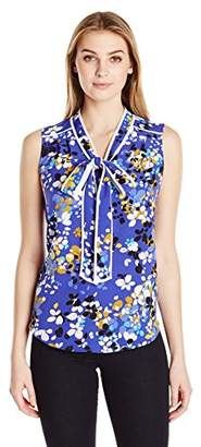 Lark & Ro Women's Sleeveless Bow Tie Blouse