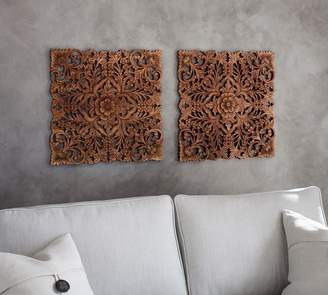 Pottery Barn Carved Wood Panels - Set of 2