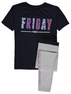 George Navy Friday Vibes Sequin Top and Leggings Outfit