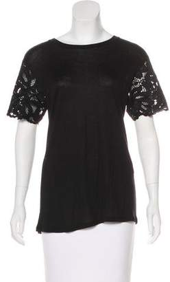 Alexis Lace-Trimmed Short Sleeve Top