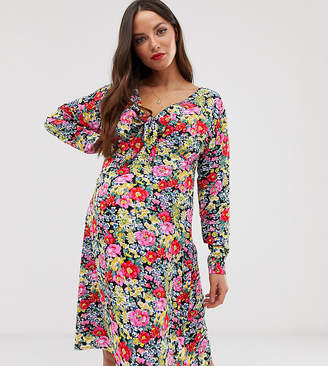 Glamorous Bloom long sleeve dress with tie front in vintage floral