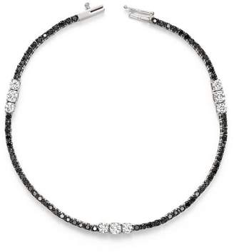 Bloomingdale's White and Black Diamond Three Station Tennis Bracelet in 14K White Gold - 100% Exclusive