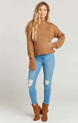 Show Me Your Mumu Cody Crop Sweater ~ Distressed Knit Java