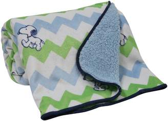 Bedtime Originals Snoopy Chevron Blanket, Velour/Sherpa