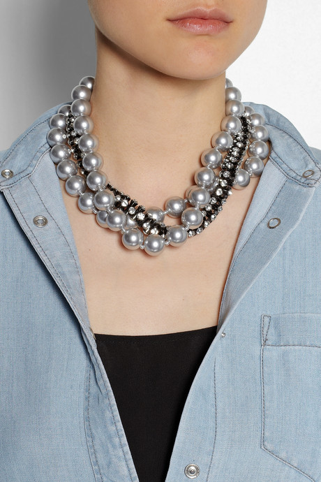 Kenneth Jay Lane Gunmetal-plated, Swarovski crystal and faux pearl necklace