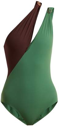 ON THE ISLAND Contrast-panel cut-out swimsuit
