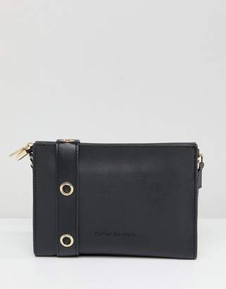 Melie Bianco Vegan Leather Crossbody Bag With Eyelet Detail Strap