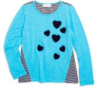 Design History Girls' Contrast Gingham Heart Top - Little Kid