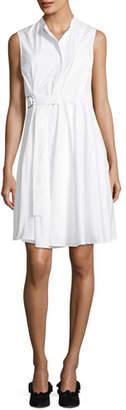 Proenza Schouler Sleeveless Side-Wrap Pleated Poplin Dress