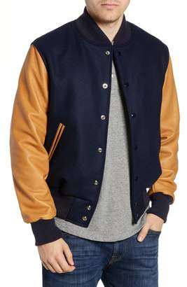GoldenBear Golden Bear The Albany Mixed Media Varsity Jacket