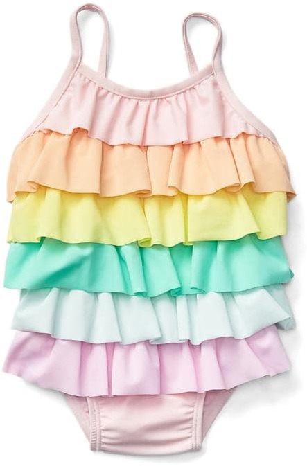 Pastel rainbow ruffle swim one-piece