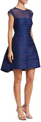 Theia Cap Sleeve Satin Stripe Cocktail Dress