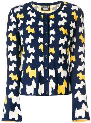Moschino dog pattern buttoned cardigan