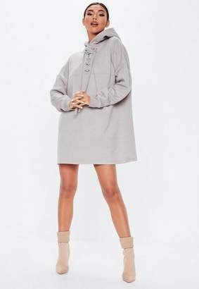 Missguided Gray Lace Up Pocket Front Hoodie Dress