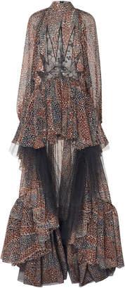 Giambattista Valli Printed Chiffon High-Low Gown