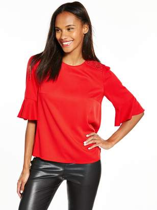 BOSS ORANGE Kaloky Flute Sleeve Blouse - Medium Red