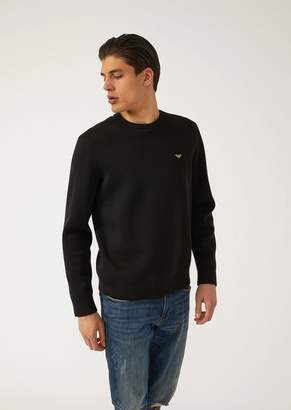 Emporio Armani Sweatshirt In Lightweight Scuba Fabric With Logo Embroidered On The Back