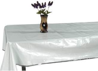 "clear Ottomanson Heavy Duty Plastic Tablecloth Table Cover Protector White Sewn Edges Border Tablecloth, 54"" X 72"","