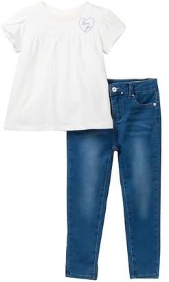 AG Jeans Jersey Top & Knit Jeggings Set (Toddler Girls)