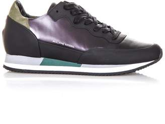 Philippe Model Metallic Violet Leather Sneakers
