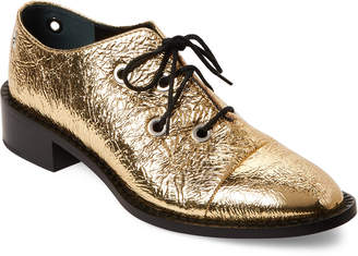 Proenza Schouler Gold Metallic Lace-Up Oxfords