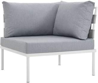 Modway Harmony Outdoor Patio Aluminum Corner Sofa, Multiple Colors