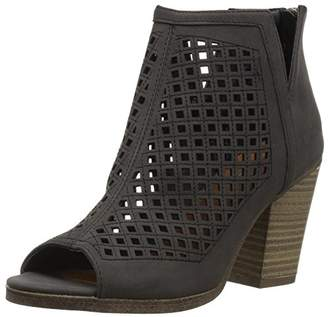 Sugar Women's Vael Open Toe Block Heel Fashion Ankle Bootie with Perf and Woven Details Boot