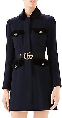 Gucci Women's Velvet-Trimmed Wool Belted Coat