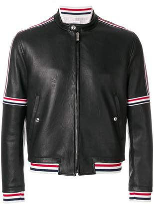 Thom Browne Cropped Elastic-Seamed Leather Jacket