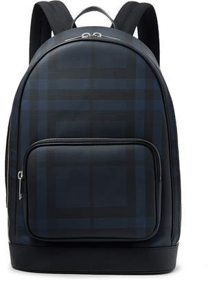 Burberry Leather-Trimmed Coated-Canvas Backpack