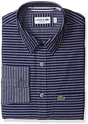 Lacoste Men's Long Sleeve Spread with 2 Pocket Horizontal Stripe