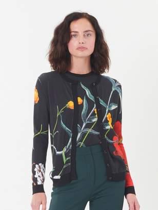 Oscar de la Renta Flower Motif Knit Cardigan