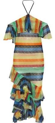 Alice + Olivia Annabeth Embellished Tulle Halterneck Midi Dress