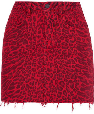 Current/Elliott The Five Pocket Leopard-print Denim Mini Skirt