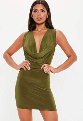 Missguided Khaki Double Layer Deep Cowl Mini Dress