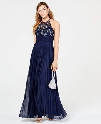 B. Darlin Juniors' Rhinestone Pleated Gown